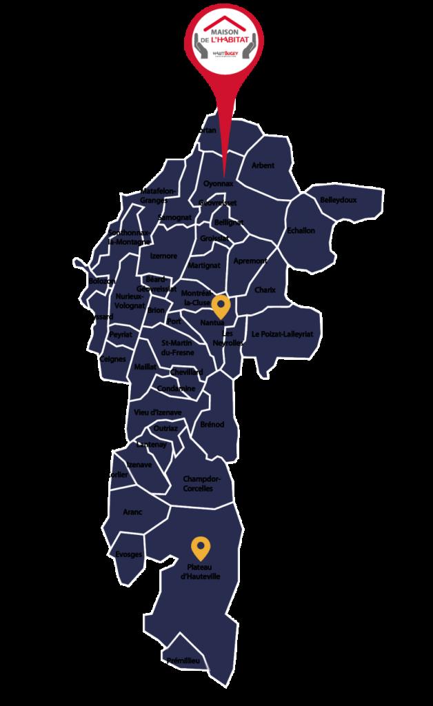 Carte des sites de la maison de l'habitat