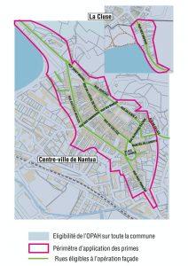 Carte du périmètre de l'opération façade à Nantua