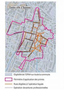 Carte du périmètre de l'opération façade à Oyonnax